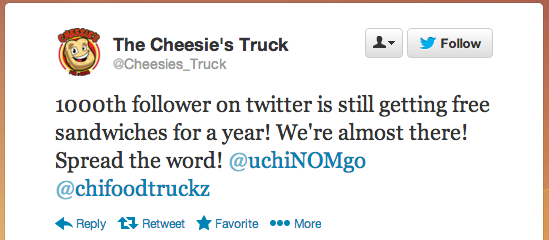 Cheesies_Truck Competition Tweet